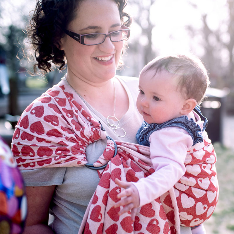 Ring sling shoulder styles - gathered