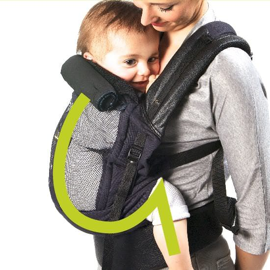 Profile of baby in a buckle carrier