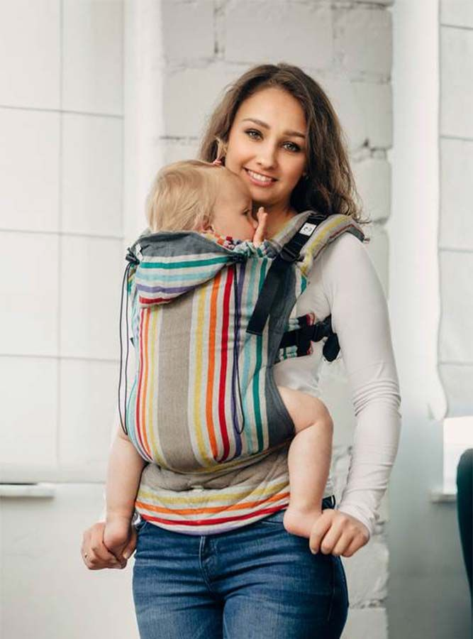 The Lenny Lamb Ergonomic Baby Carrier is also a great carrier for babywearing in summer, as it's made from 100% cotton woven wrap fabric so is nice and light and breathable.