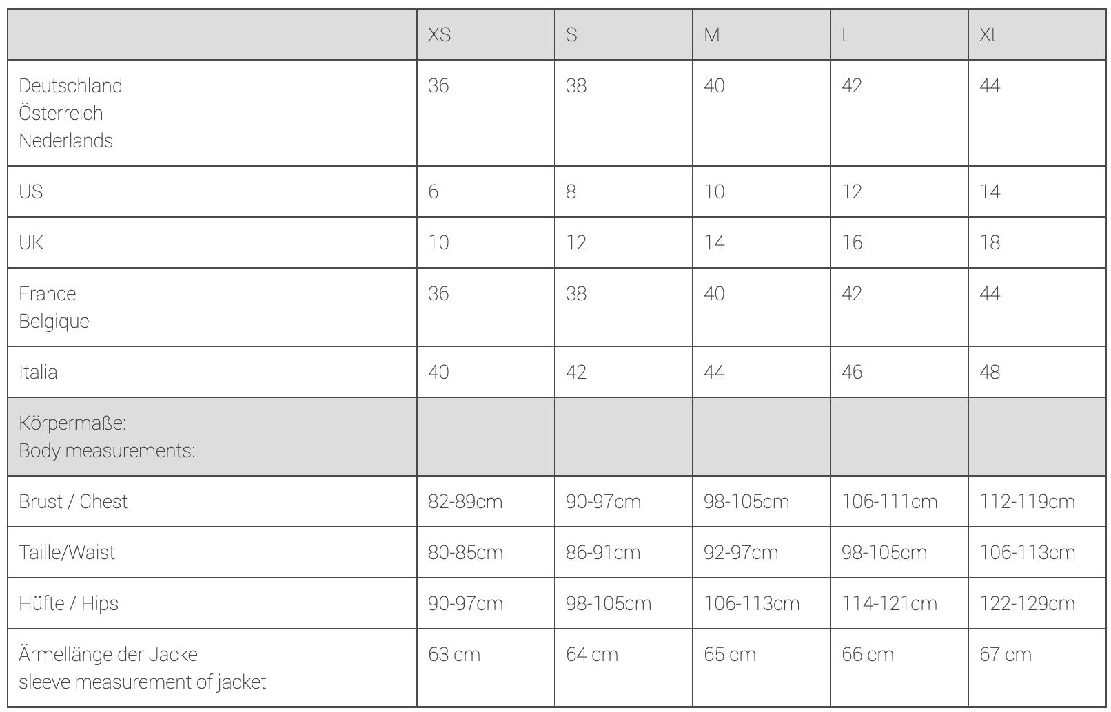 Mamalila Oslo Size Chart